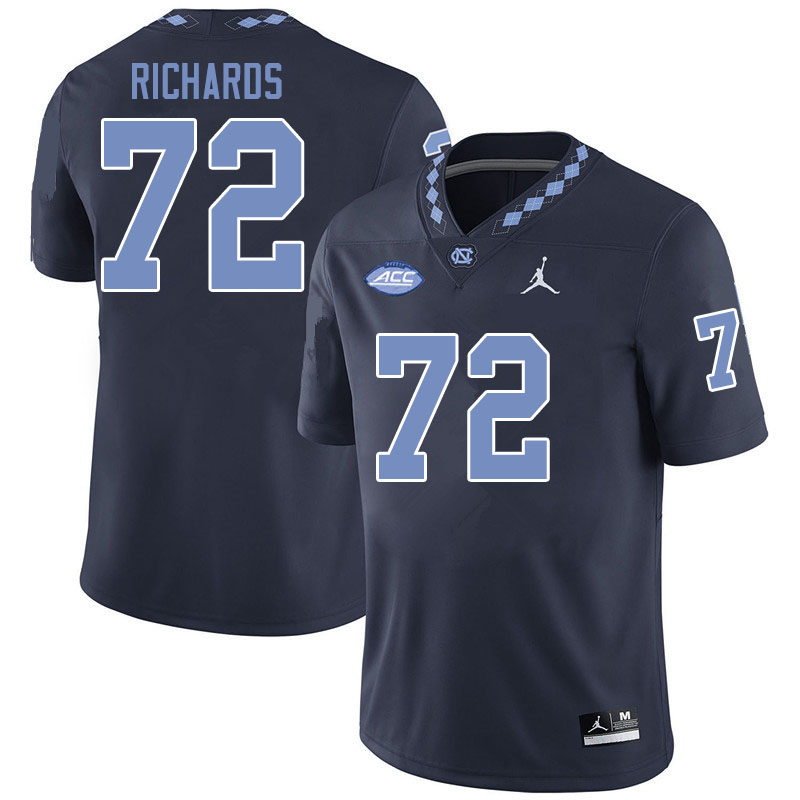 Jordan Brand Men #72 Asim Richards North Carolina Tar Heels College Football Jerseys Sale-Black