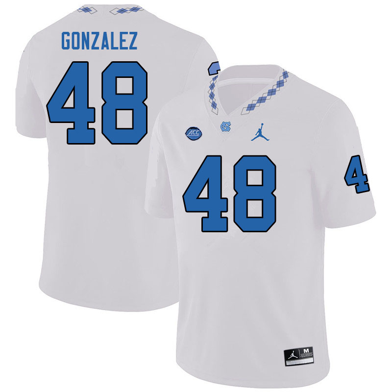 Jordan Brand Men #48 Dilan Gonzalez North Carolina Tar Heels College Football Jerseys Sale-White