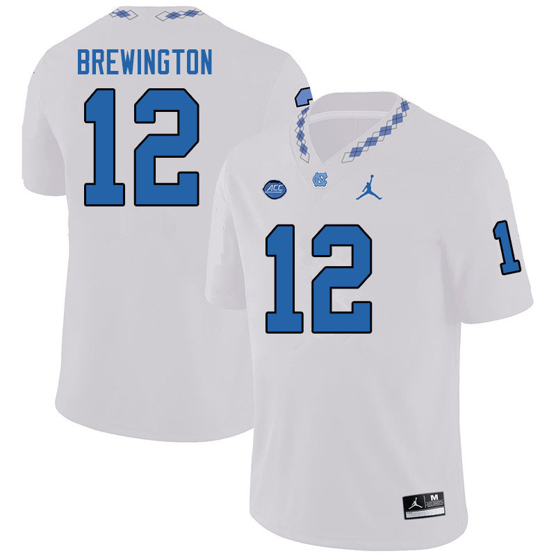 Jordan Brand Men #12 Donovan Brewington North Carolina Tar Heels College Football Jerseys Sale-White