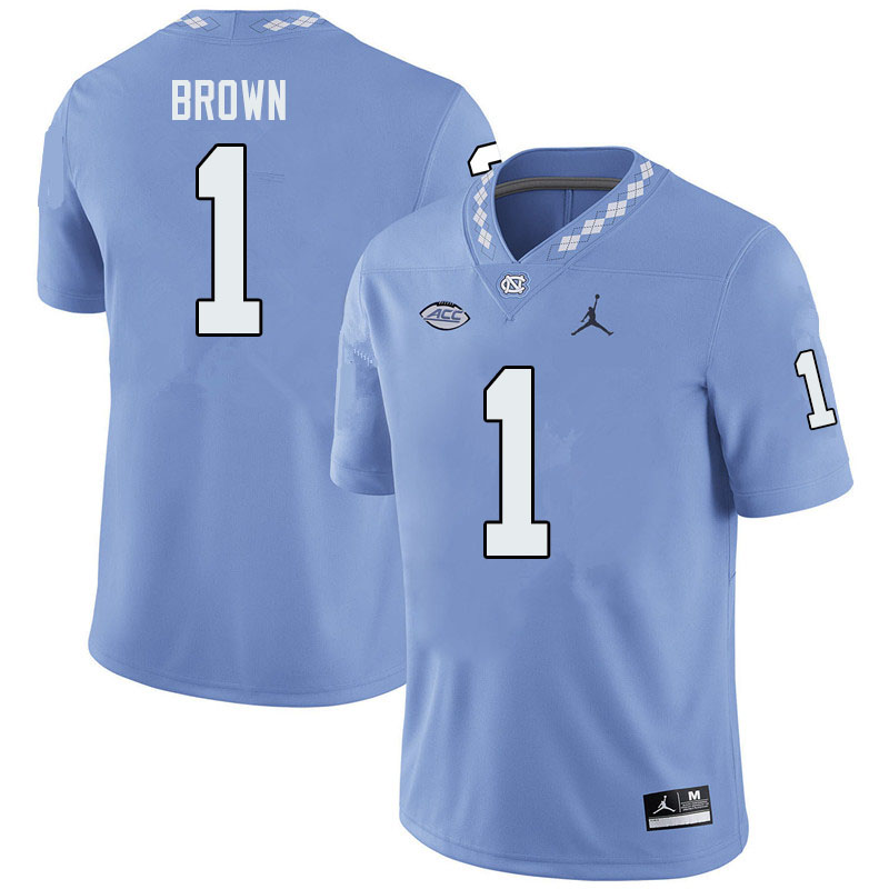 Jordan Brand Men #1 Khafre Brown North Carolina Tar Heels College Football Jerseys Sale-Blue