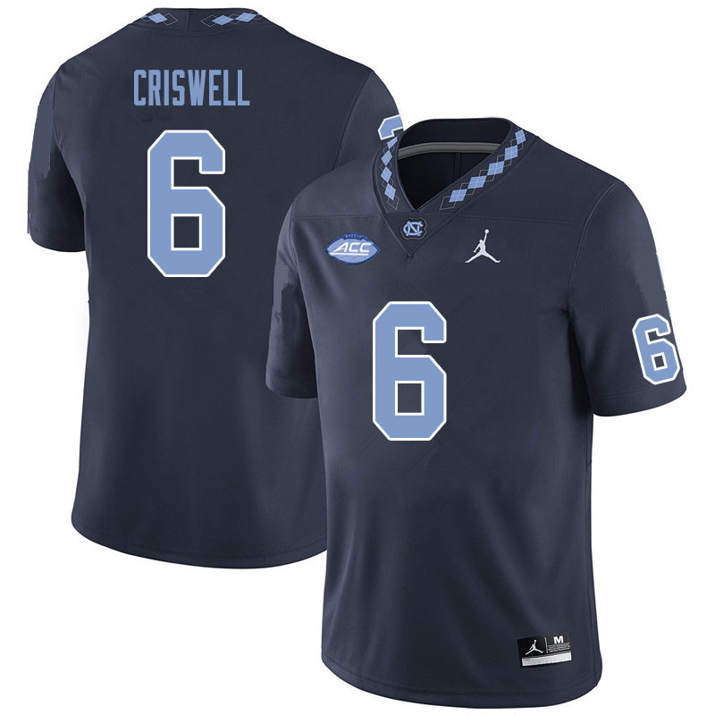 Men #6 Jacolby Criswell North Carolina Tar Heels College Football Jerseys Sale-Black