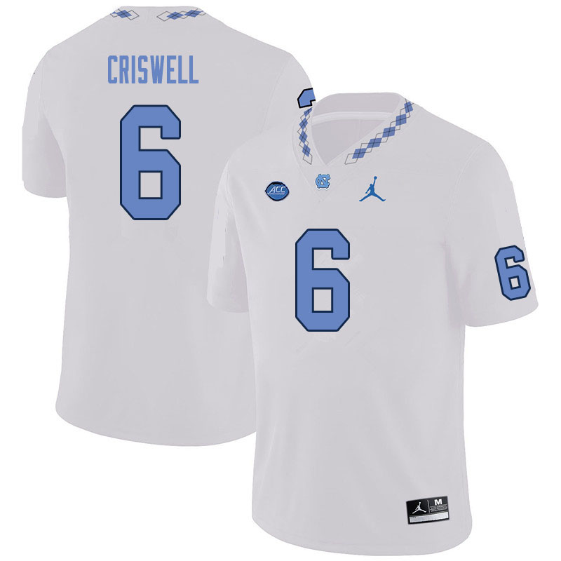 Men #6 Jacolby Criswell North Carolina Tar Heels College Football Jerseys Sale-White