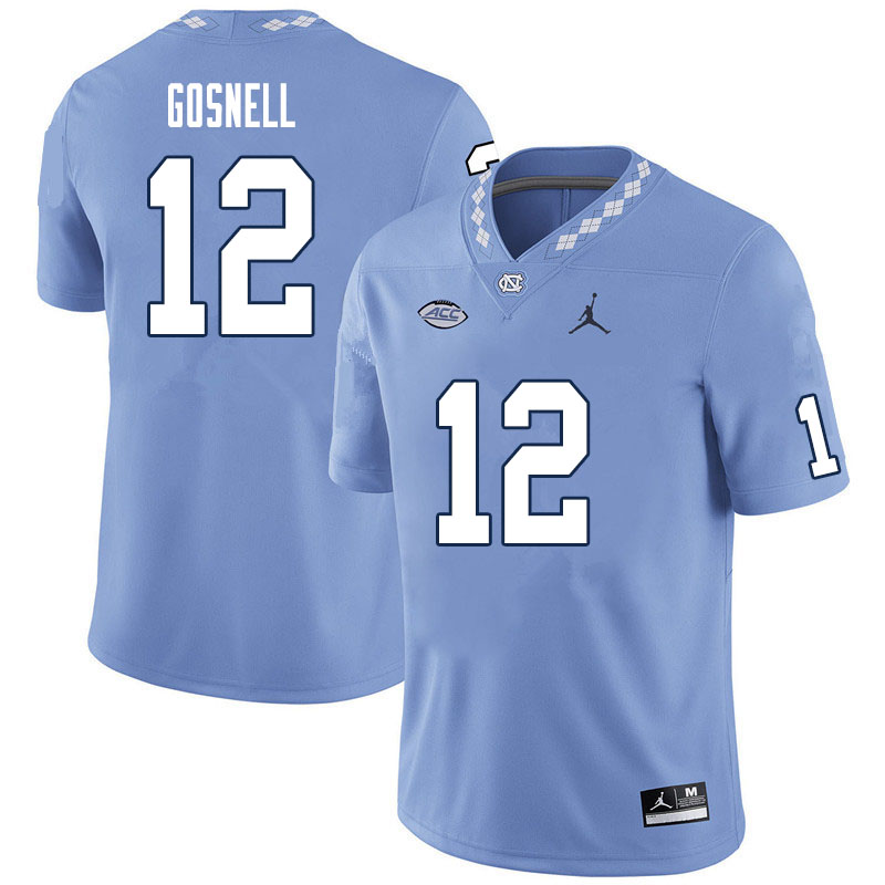 Men #12 Stephen Gosnell North Carolina Tar Heels College Football Jerseys Sale-Carolina Blue