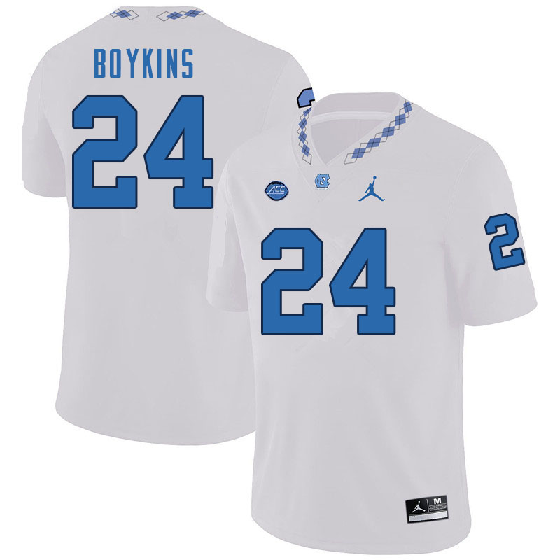 Men #24 DeAndre Boykins North Carolina Tar Heels College Football Jerseys Sale-White