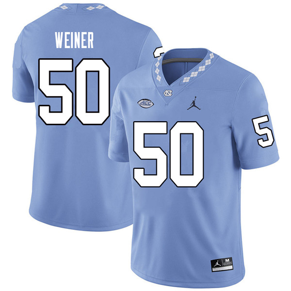 Jordan Brand Men #50 Art Weiner North Carolina Tar Heels College Football Jerseys Sale-Carolina Blue
