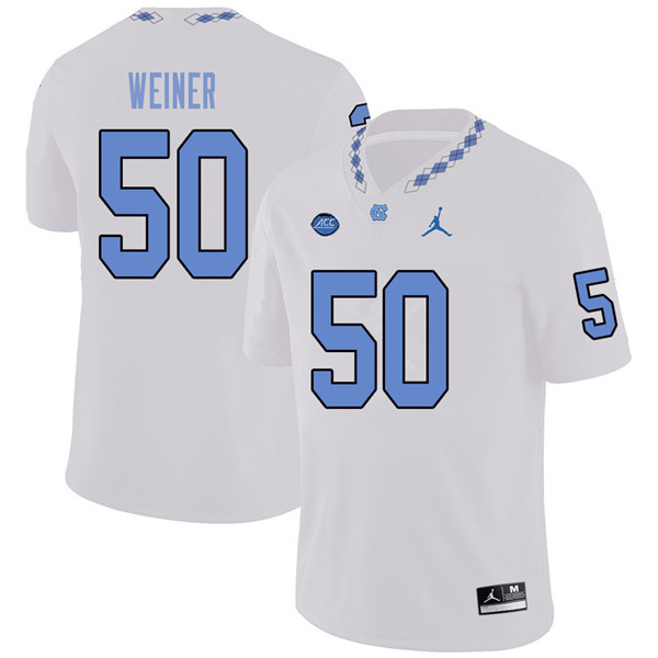 Jordan Brand Men #50 Art Weiner North Carolina Tar Heels College Football Jerseys Sale-White