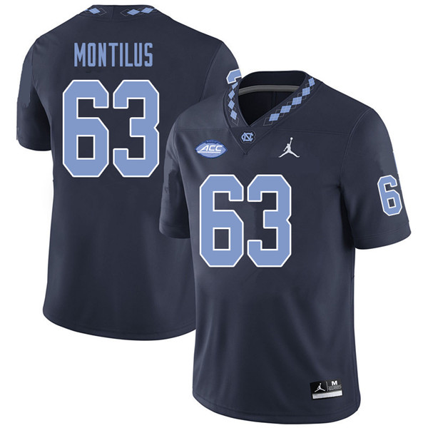 Jordan Brand Men #63 Ed Montilus North Carolina Tar Heels College Football Jerseys Sale-Navy
