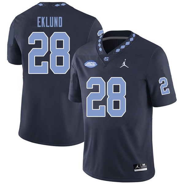 Jordan Brand Men #28 Graham Eklund North Carolina Tar Heels College Football Jerseys Sale-Navy