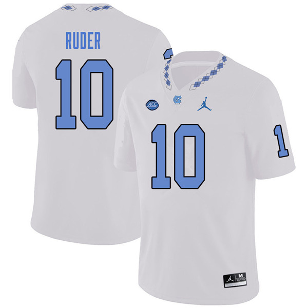 Jordan Brand Men #10 Jace Ruder North Carolina Tar Heels College Football Jerseys Sale-White