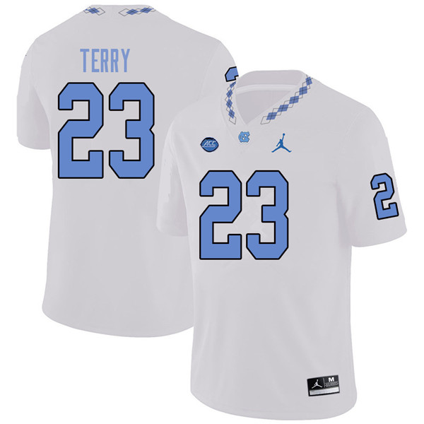 Jordan Brand Men #23 Javon Terry North Carolina Tar Heels College Football Jerseys Sale-White