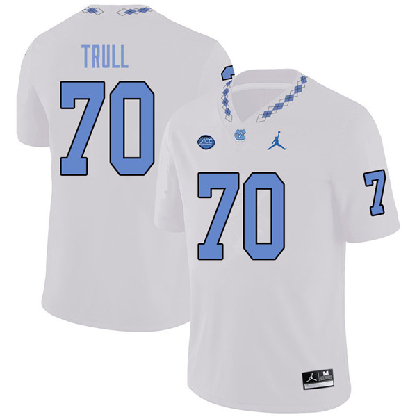 Jordan Brand Men #70 Jonathan Trull North Carolina Tar Heels College Football Jerseys Sale-White