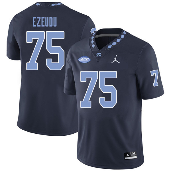 Jordan Brand Men #75 Joshua Ezeudu North Carolina Tar Heels College Football Jerseys Sale-Navy