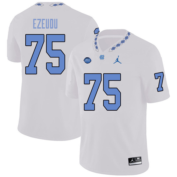 Jordan Brand Men #75 Joshua Ezeudu North Carolina Tar Heels College Football Jerseys Sale-White