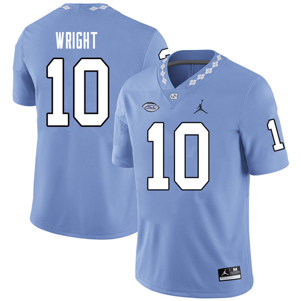 Jordan Brand Men #10 Kyle Wright North Carolina Tar Heels College Football Jerseys Sale-Carolina Blu