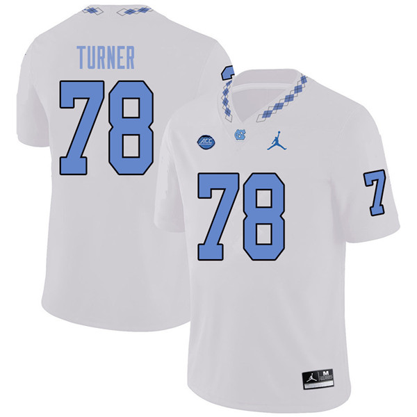 Jordan Brand Men #78 Landon Turner North Carolina Tar Heels College Football Jerseys Sale-White