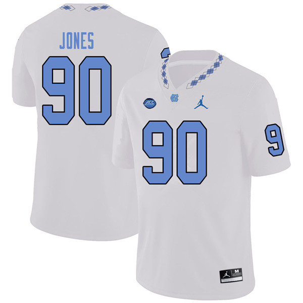 Jordan Brand Men #90 Nazair Jones North Carolina Tar Heels College Football Jerseys Sale-White