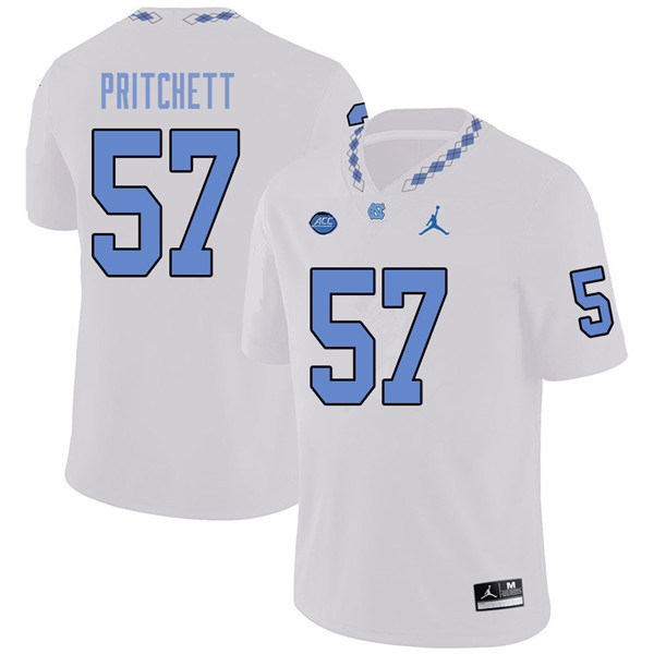 Jordan Brand Men #57 Tyler Pritchett North Carolina Tar Heels College Football Jerseys Sale-White