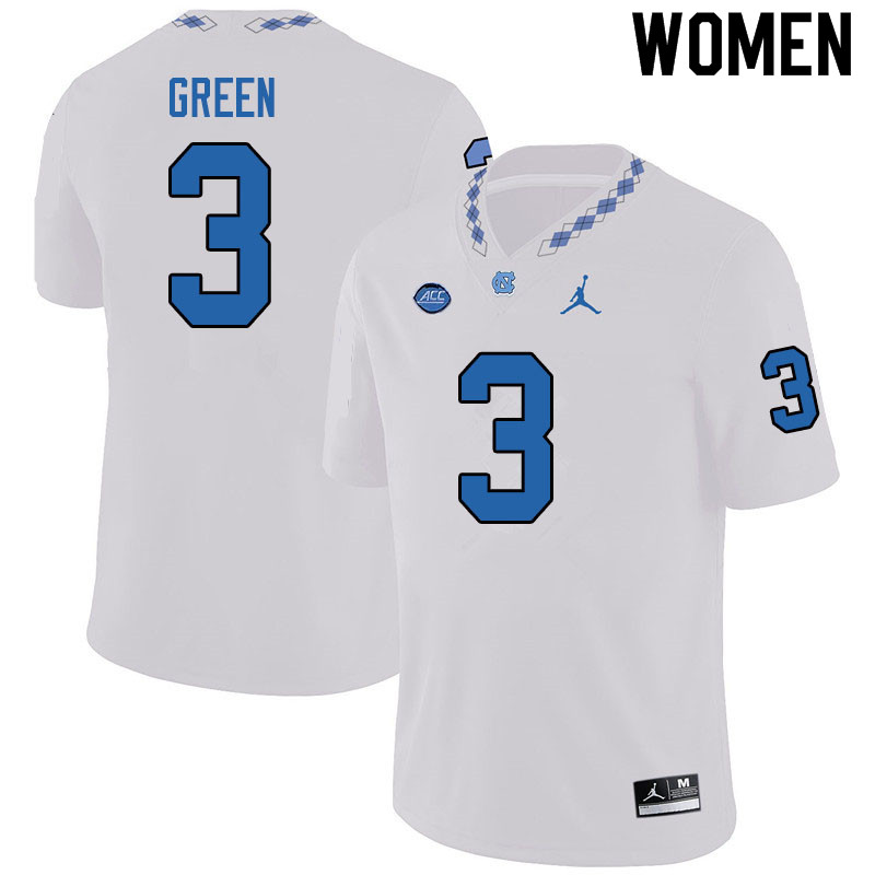 Jordan Brand Women #3 Antoine Green North Carolina Tar Heels College Football Jerseys Sale-White