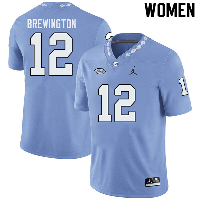 Jordan Brand Women #12 Donovan Brewington North Carolina Tar Heels College Football Jerseys Sale-Blu