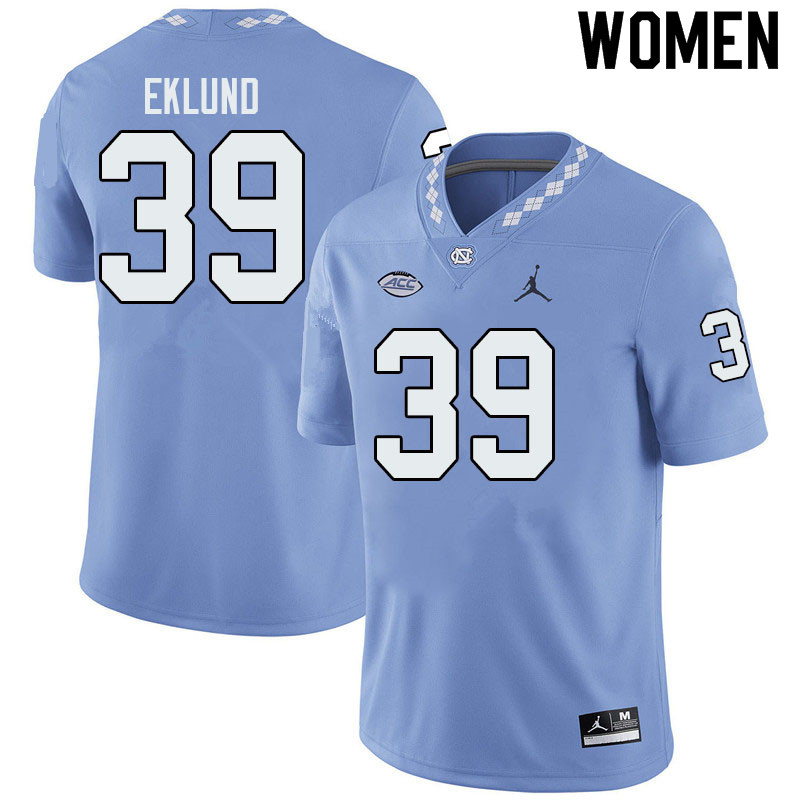 Jordan Brand Women #39 Graham Eklund North Carolina Tar Heels College Football Jerseys Sale-Blue