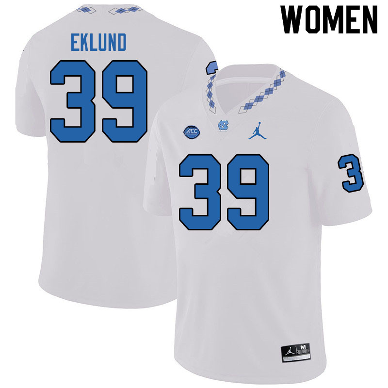Jordan Brand Women #39 Graham Eklund North Carolina Tar Heels College Football Jerseys Sale-White