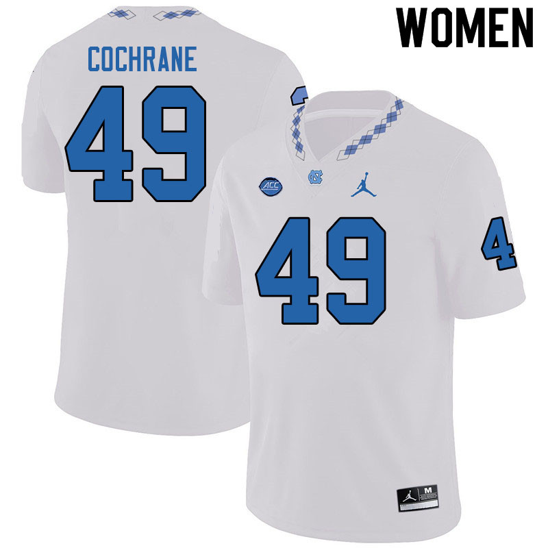 Jordan Brand Women #49 Parks Cochrane North Carolina Tar Heels College Football Jerseys Sale-White
