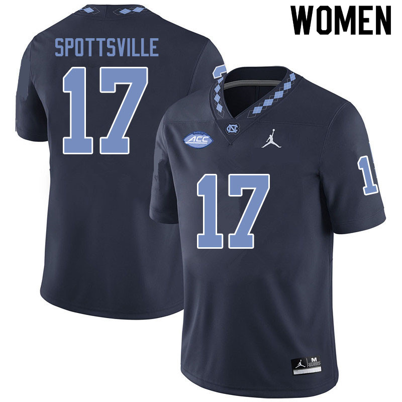 Jordan Brand Women #17 Welton Spottsville North Carolina Tar Heels College Football Jerseys Sale-Bla