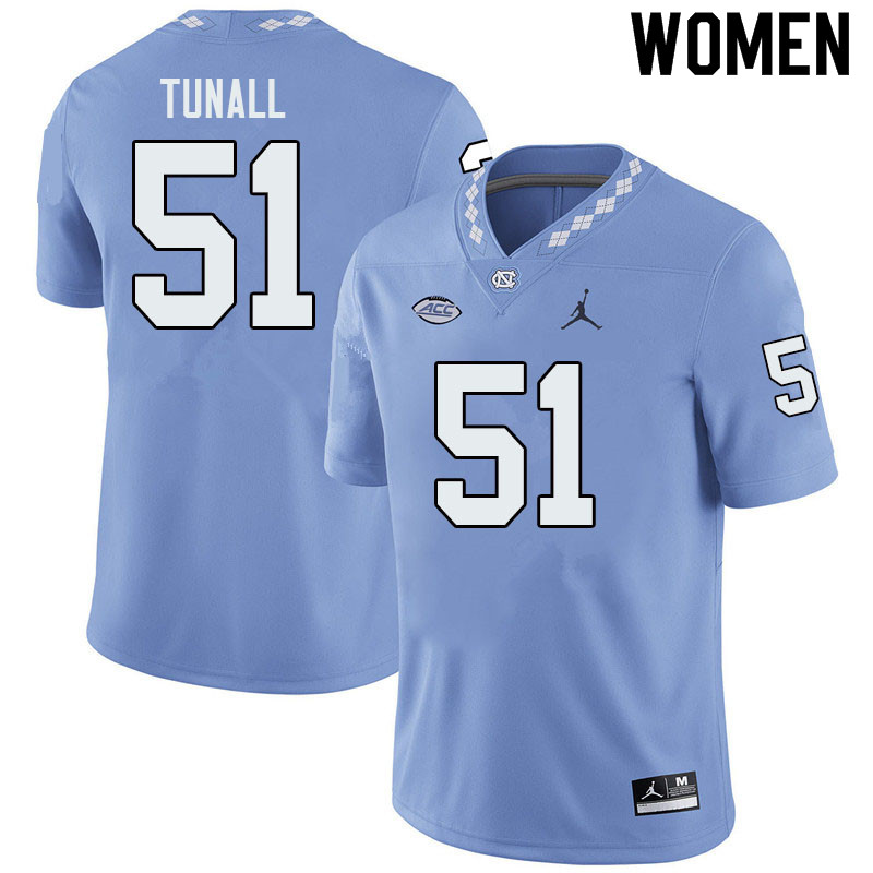 Jordan Brand Women #51 Wyatt Tunall North Carolina Tar Heels College Football Jerseys Sale-Blue