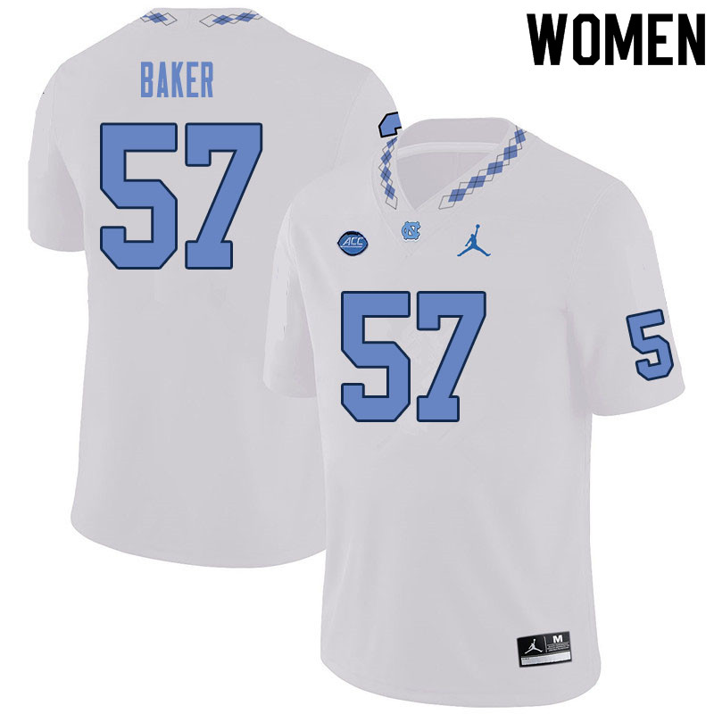 Women #57 Cayden Baker North Carolina Tar Heels College Football Jerseys Sale-White