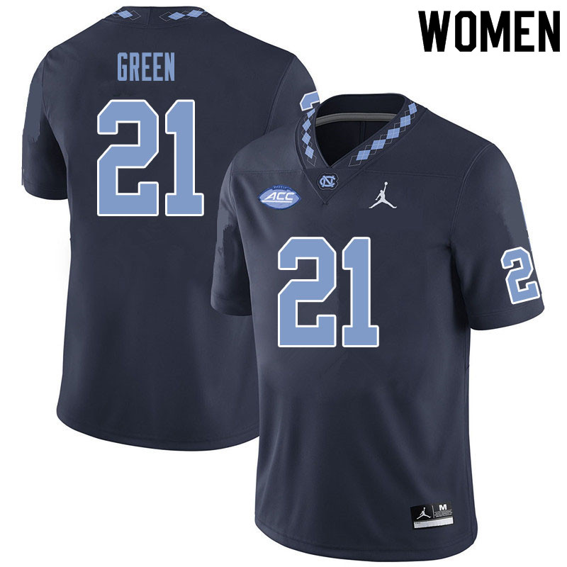 Women #21 Elijah Green North Carolina Tar Heels College Football Jerseys Sale-Black