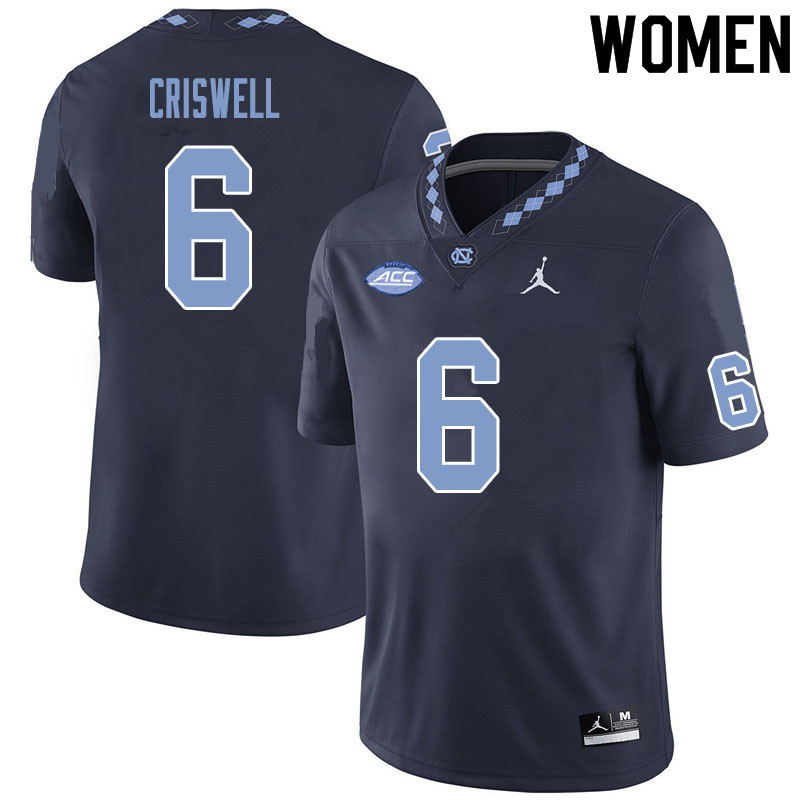 Women #6 Jacolby Criswell North Carolina Tar Heels College Football Jerseys Sale-Black