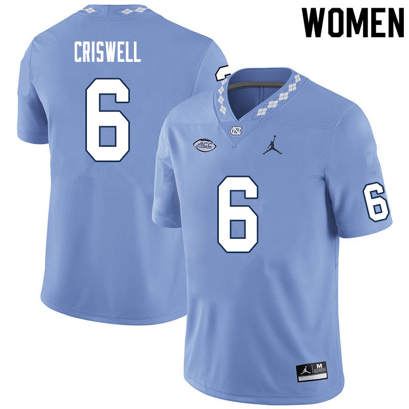 Women #6 Jacolby Criswell North Carolina Tar Heels College Football Jerseys Sale-Carolina Blue