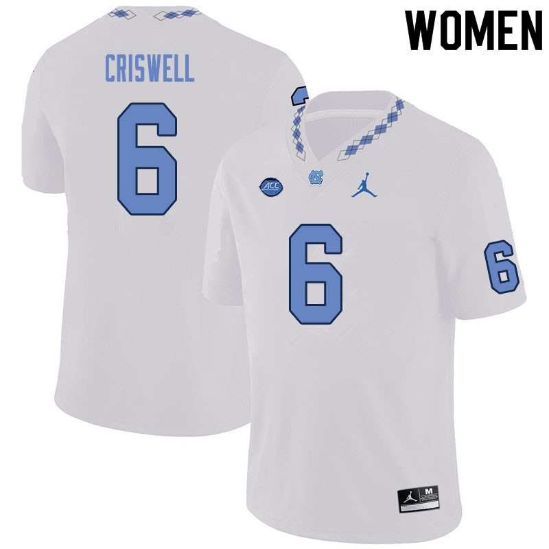 Women #6 Jacolby Criswell North Carolina Tar Heels College Football Jerseys Sale-White