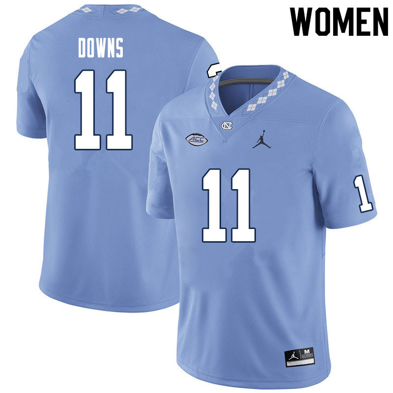 Women #11 Josh Downs North Carolina Tar Heels College Football Jerseys Sale-Carolina Blue