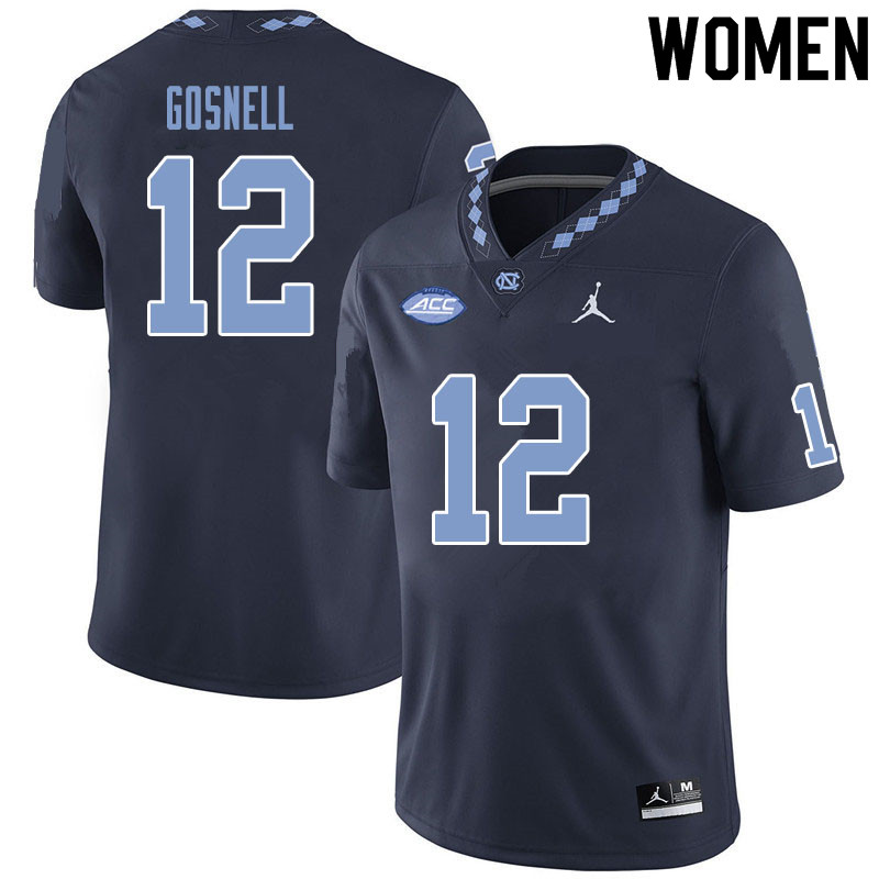 Women #12 Stephen Gosnell North Carolina Tar Heels College Football Jerseys Sale-Black