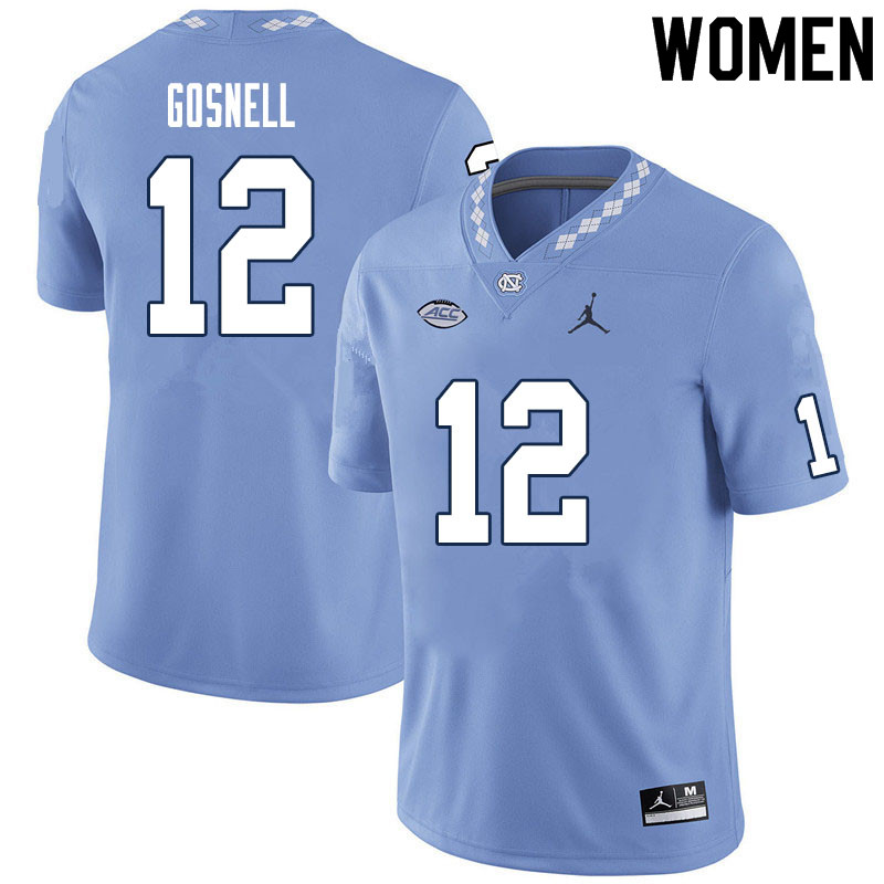 Women #12 Stephen Gosnell North Carolina Tar Heels College Football Jerseys Sale-Carolina Blue