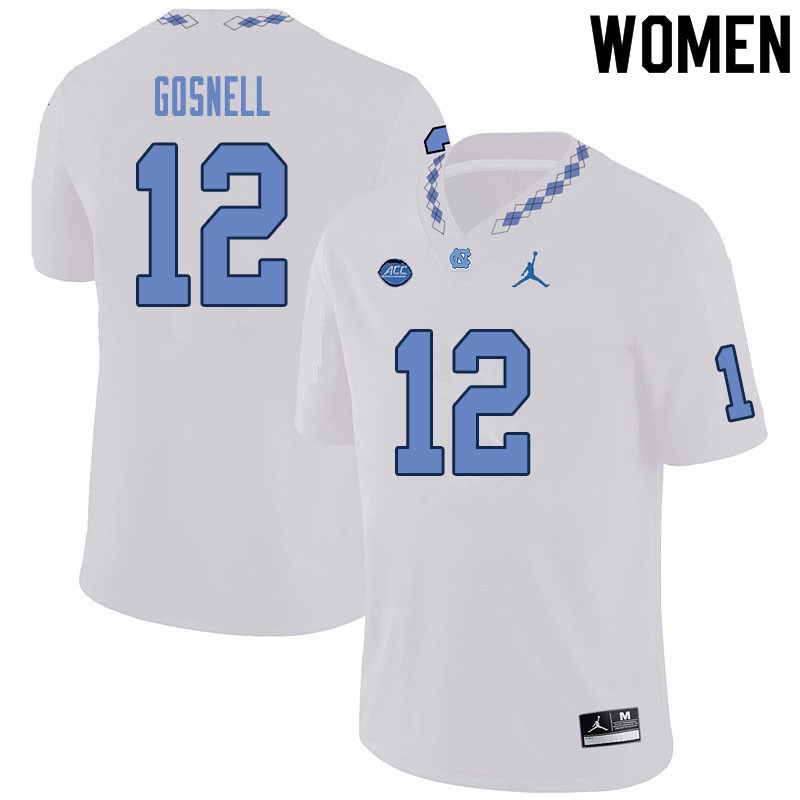 Women #12 Stephen Gosnell North Carolina Tar Heels College Football Jerseys Sale-White