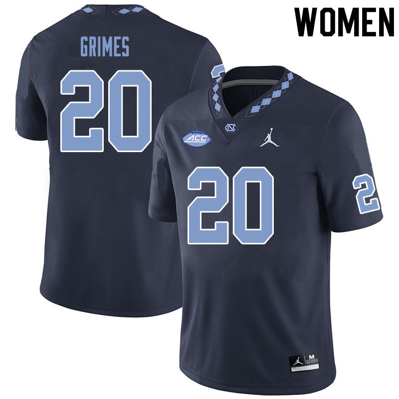Women #20 Tony Grimes North Carolina Tar Heels College Football Jerseys Sale-Black
