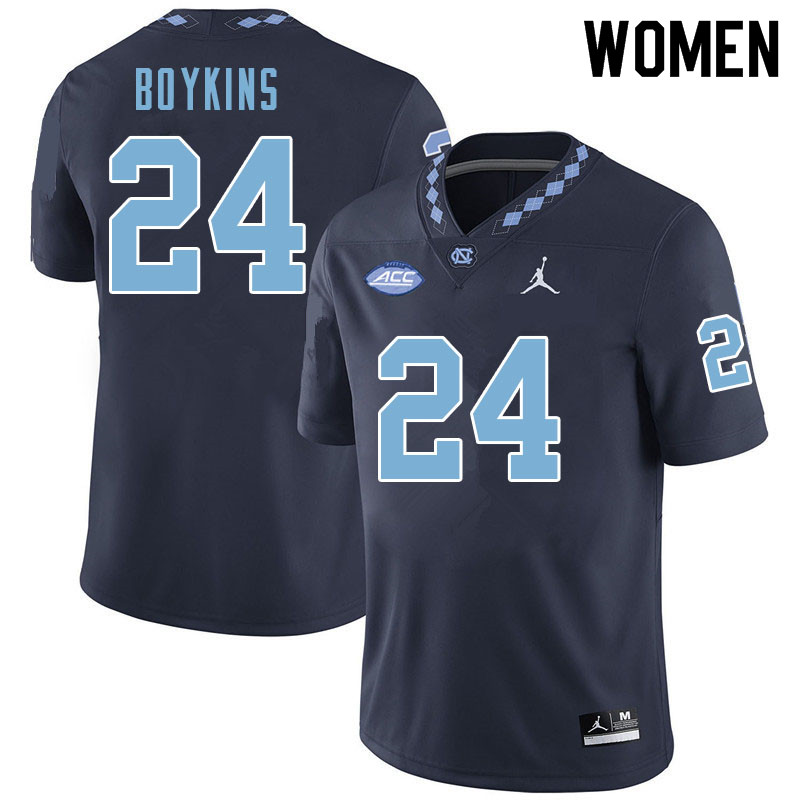 Women #24 DeAndre Boykins North Carolina Tar Heels College Football Jerseys Sale-Navy