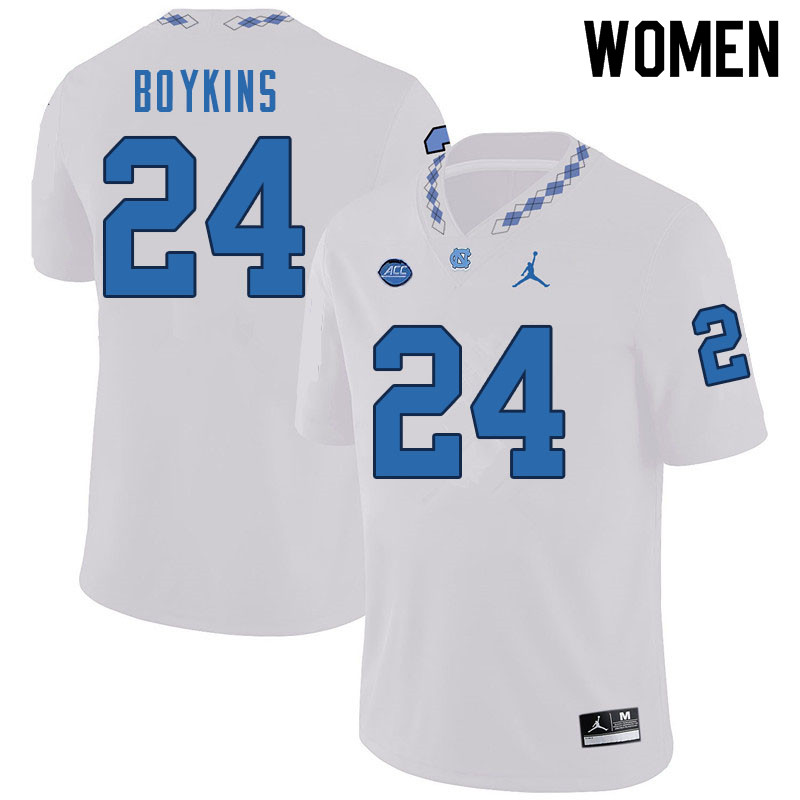 Women #24 DeAndre Boykins North Carolina Tar Heels College Football Jerseys Sale-White