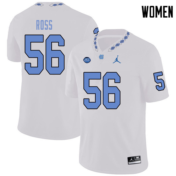 Jordan Brand Women #56 Billy Ross North Carolina Tar Heels College Football Jerseys Sale-White