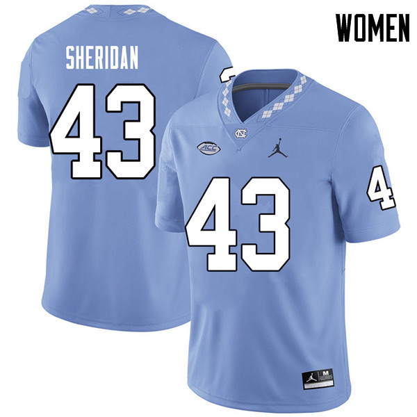 Jordan Brand Women #43 Hunter Sheridan North Carolina Tar Heels College Football Jerseys Sale-Caroli