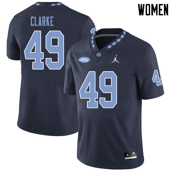 Jordan Brand Women #49 Jeremiah Clarke North Carolina Tar Heels College Football Jerseys Sale-Navy
