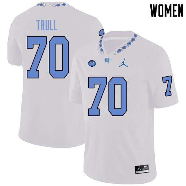 Jordan Brand Women #70 Jonathan Trull North Carolina Tar Heels College Football Jerseys Sale-White