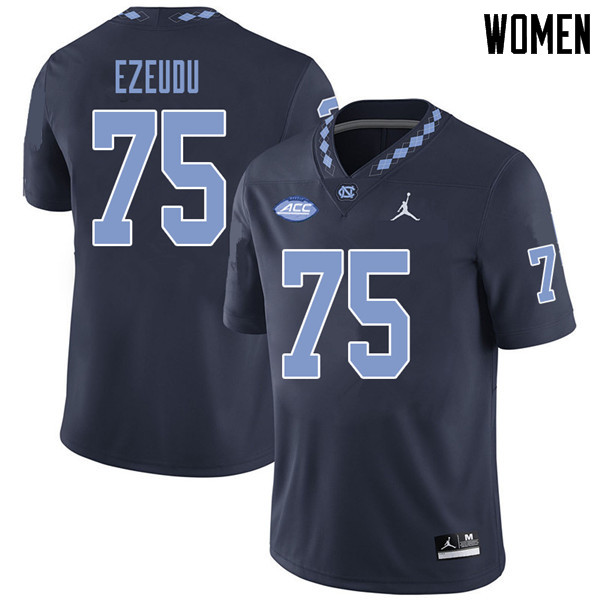 Jordan Brand Women #75 Joshua Ezeudu North Carolina Tar Heels College Football Jerseys Sale-Navy