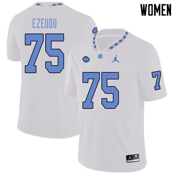 Jordan Brand Women #75 Joshua Ezeudu North Carolina Tar Heels College Football Jerseys Sale-White