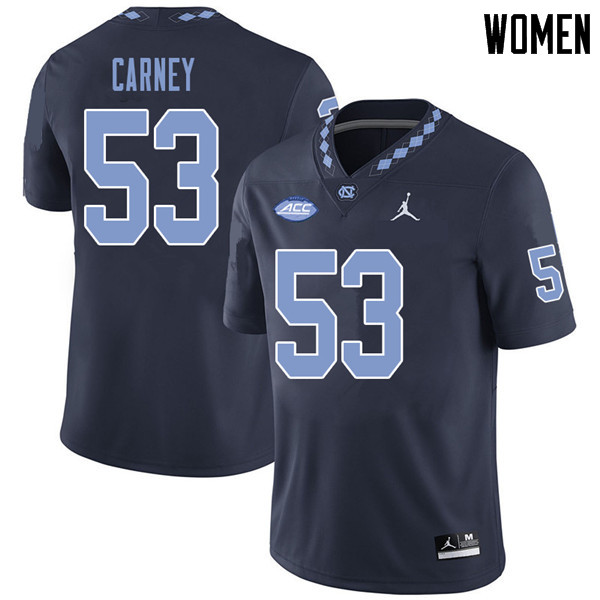 Jordan Brand Women #53 Malik Carney North Carolina Tar Heels College Football Jerseys Sale-Navy