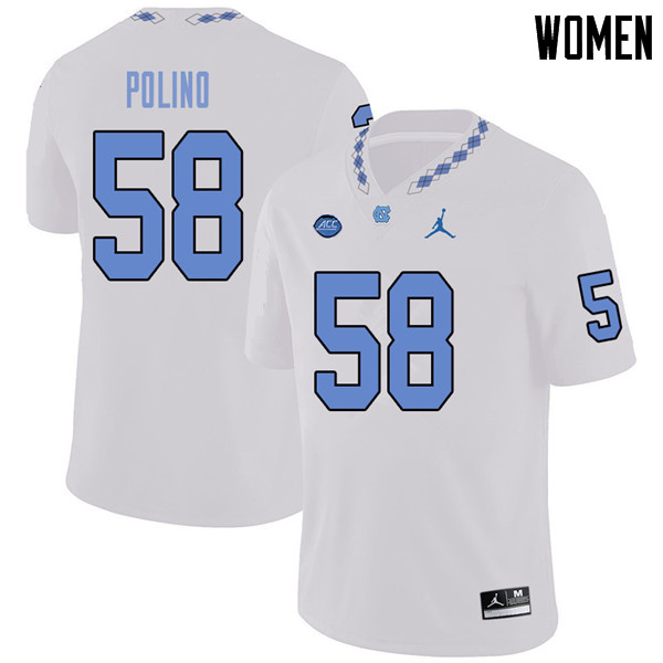 Jordan Brand Women #58 Nick Polino North Carolina Tar Heels College Football Jerseys Sale-White
