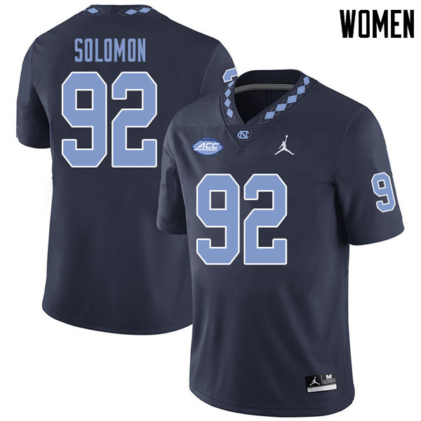 Jordan Brand Women #92 Nicky Solomon North Carolina Tar Heels College Football Jerseys Sale-Navy