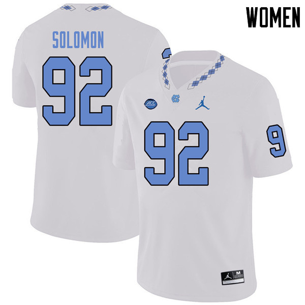Jordan Brand Women #92 Nicky Solomon North Carolina Tar Heels College Football Jerseys Sale-White